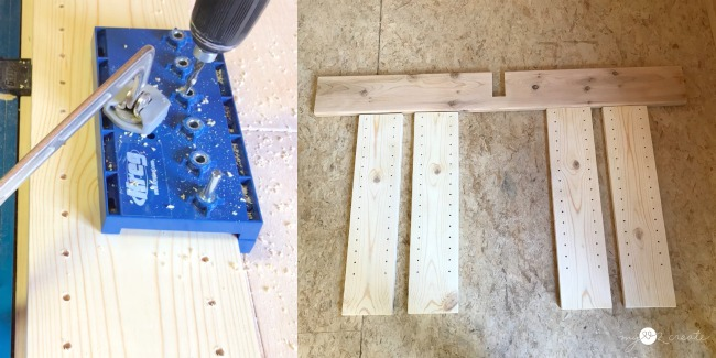 using a Kreg shelf pin jig to make adjustable shelves