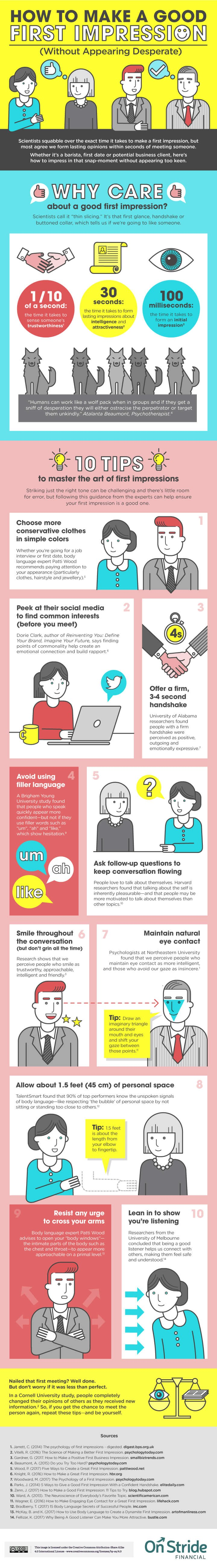 infographic - How to Make a Good First Impression (Without Appearing Desperate)