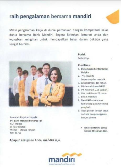 Lowongan Kerja Bank Mandiri KCP Malaka