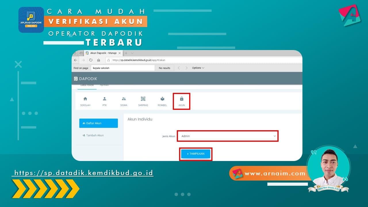 Arnaim.com - Cara Mudah Verifikasi Akun Operator Dapodik Terbaru (3)