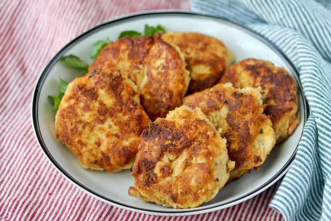 Halibut and salmon cakes in a bowl