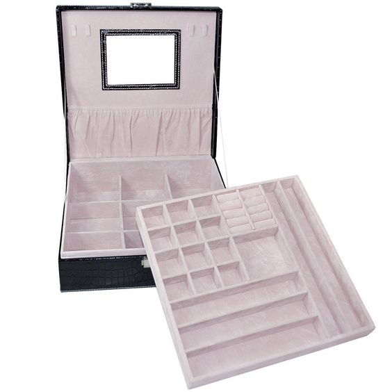 An opened softly-lined jewelry display organizer.