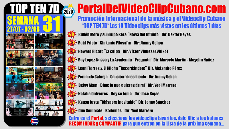 Artistas ganadores del * TOP TEN 7D * con los 10 Videoclips más vistos en la semana 31 (27/07 a 02/08 de 2020) en el Portal Del Vídeo Clip Cubano