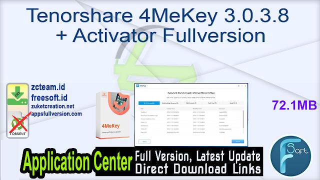 Tenorshare 4MeKey 3.0.3.8 + Activator Fullversion