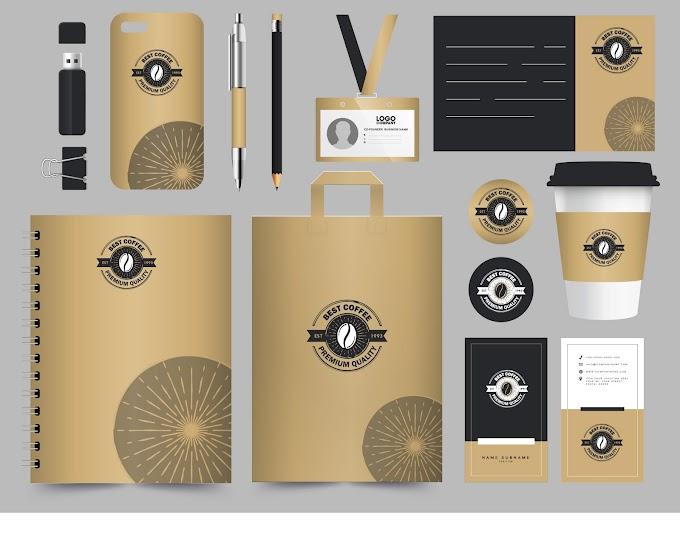Coffee brand identity sets elegant brown logo decor Free vector