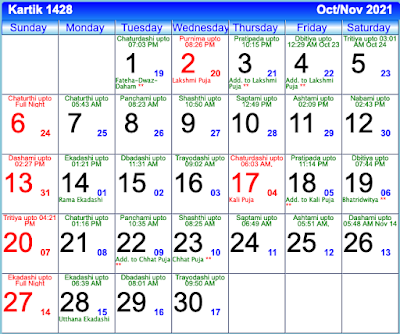 Bengali Calendar Kartik 1428 - October/November 2021