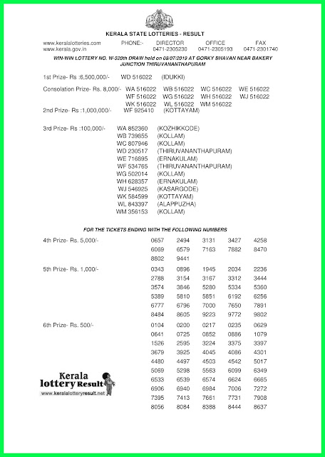 "Kerala Lottery Result 08/07/2019 ; Win Win Lottery Results 08-07-2019 ""W-520"""