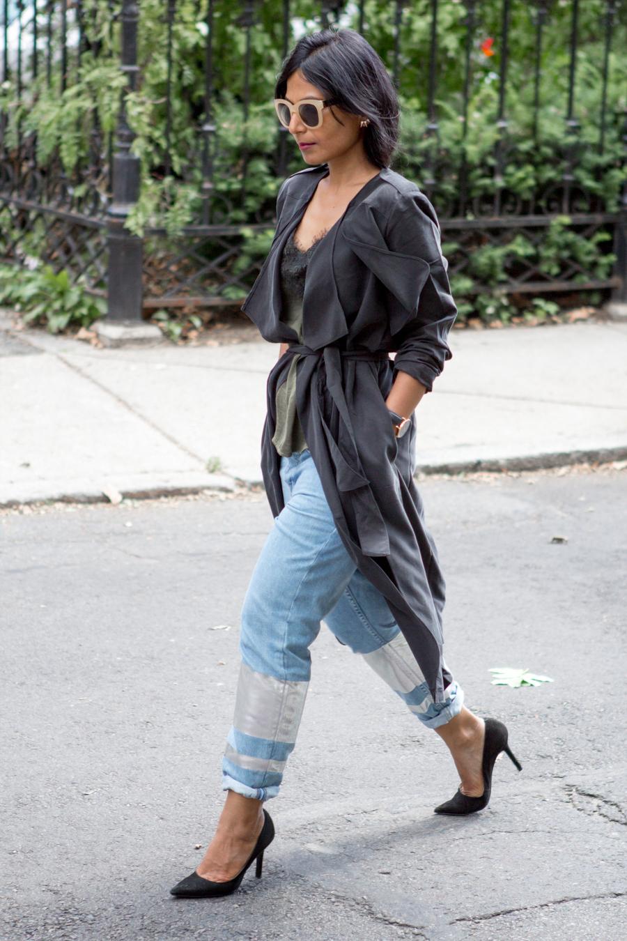 foil, boyfriend jeans, topshop, draped trench, feminine style, street style, boston blogger, petite fashion