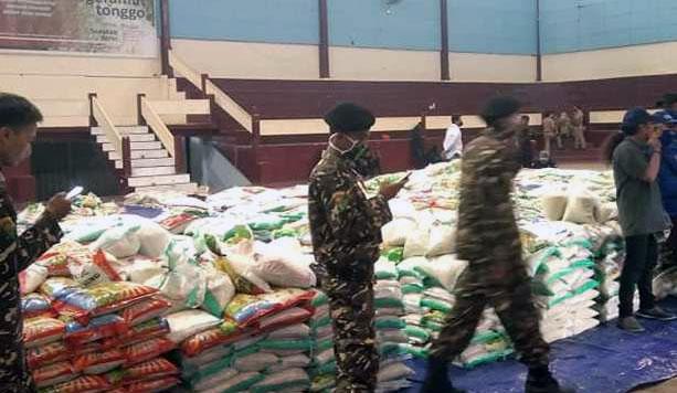 Gor menjadi gudang beras untuk Program Ngeramut Tonggo