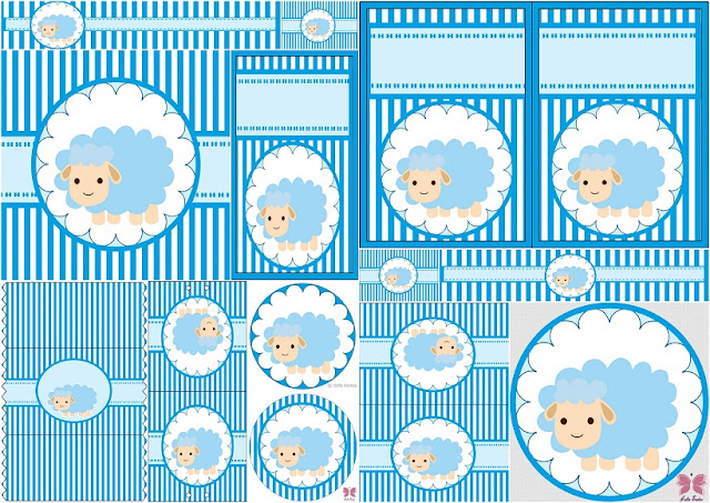 Cute Sheep for Boy Baby Party:: Free Printable Candy Bar Labels.
