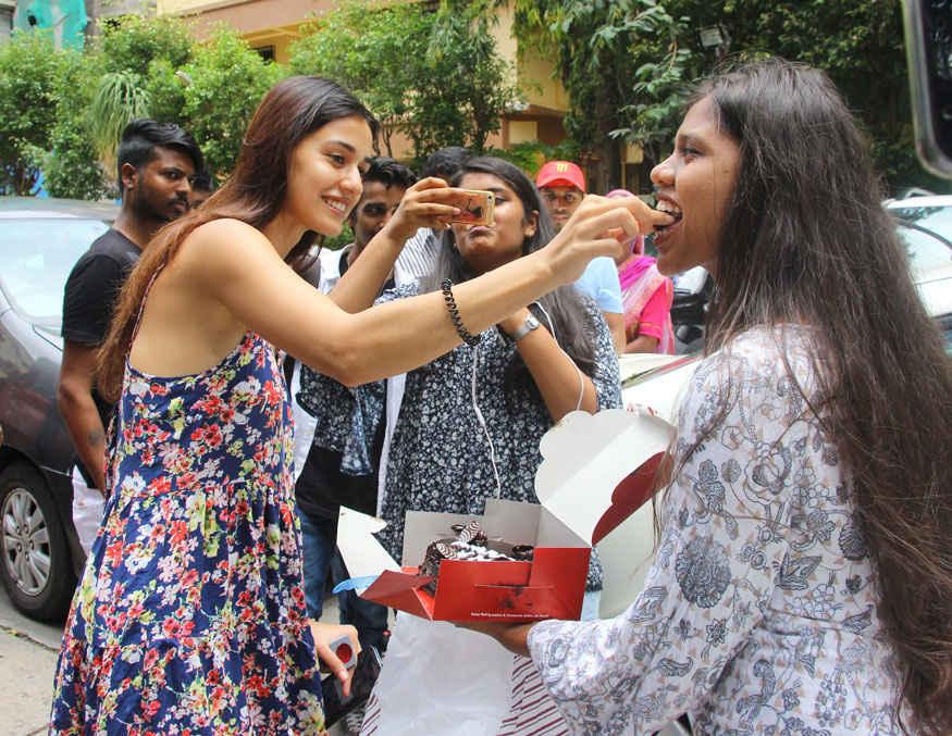 Disha Patani at Gym with Her Fans In Bandra, Mumbai
