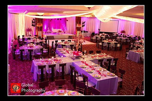 Table set up - Sonal J Shah Event Consultants, LLC - wedding reception setup with rectangular tables