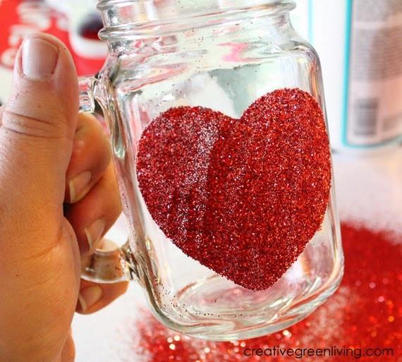 How to add glitter to a mason jar in a heart shape