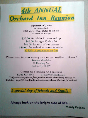 Orchard Inn Reunion bulletin for the 4th annual reunion... September 13, 2003
