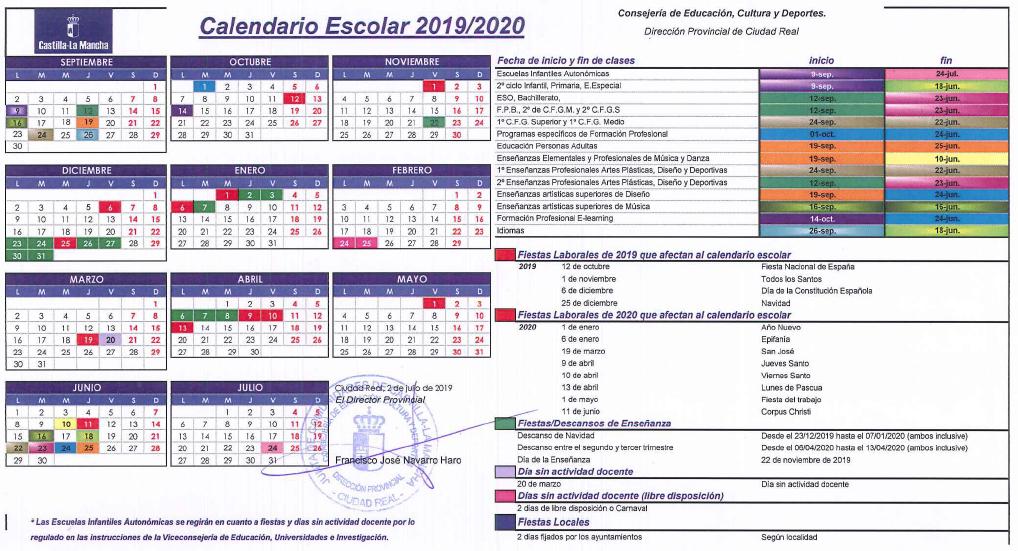Calendario Laboral 2019 Ciudad Real.Ceip La Alameda Calendario Escolar 2019 2020