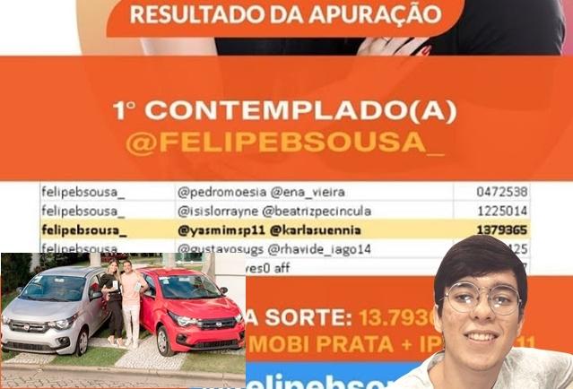 Estudante paraibano ganha carro 0KM em sorteio virtual no instagram do cantor Wesley Safadão