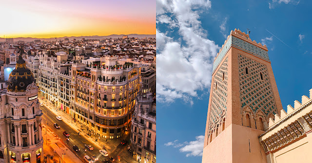 two images of cityscapes