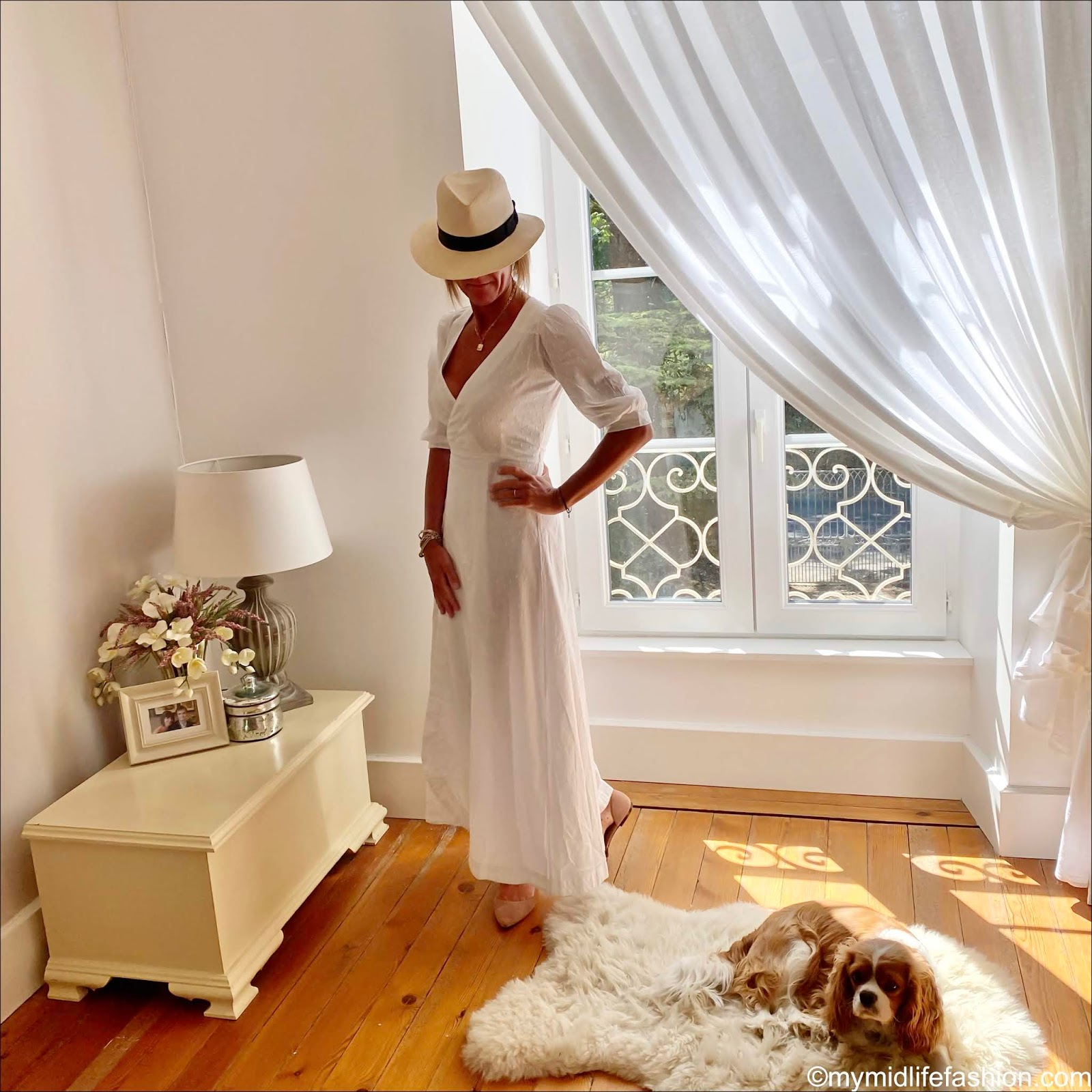 my midlife fashion, h and m Panama hat, seraphina London dobby cotton wrap around maxi dress, H&M nude cut out ballet pumps