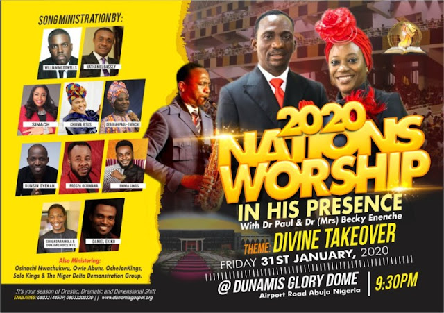 William McDowells, Nathaneil Bassey, Chioma Jesus, Sinach, Deborah-Paul Enenche, others storm Dunamis' Glory Dome for Nation's Worship 2020