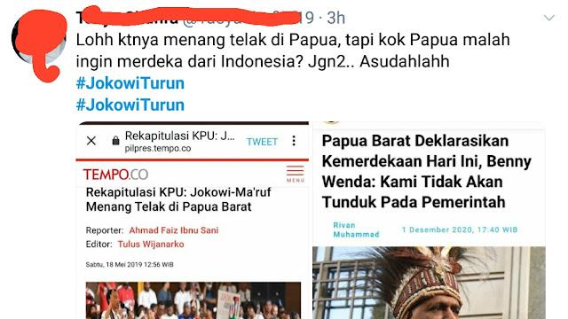 Tagar <i>#JokowiTurun</i> Trending di Twitter, Gegara Papua Pengin Merdeka?