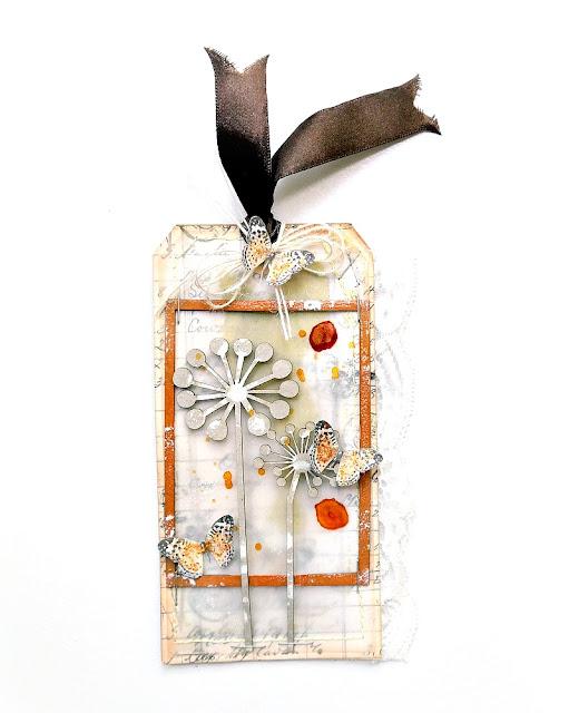 Mixed Media Dandelion Shaker Tag by Dana Tatar for FabScraps