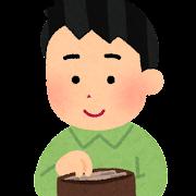財布からお金を取り出す人のイラスト(男性)