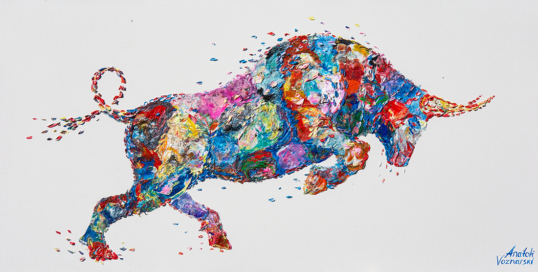 bull painting, bull acrylic, bull unique texture, thick layers bull, abstract bull, bull voznarski, mixed bull, bull on canvas, bull pop art, bull wall art, beautiful bull , red bull