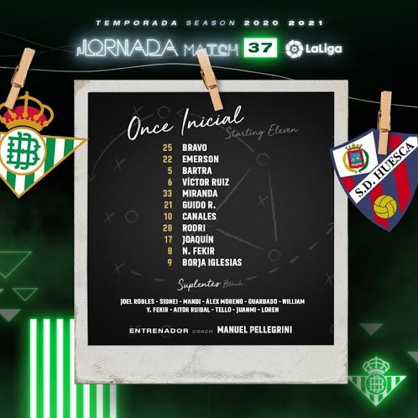 Betis - Huesca, alineaciones oficiales