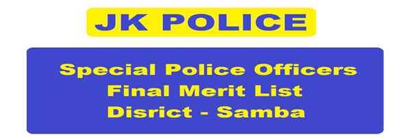 [J&K-Samba] JK POLICE *SPOs Result 2019 Out