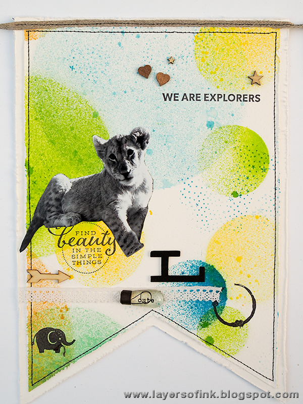 Layers of ink - Easy Misted Animal Banner tutorial by Anna-Karin using Sizzix Big Shot Plus dies and Distress Spray Stains.
