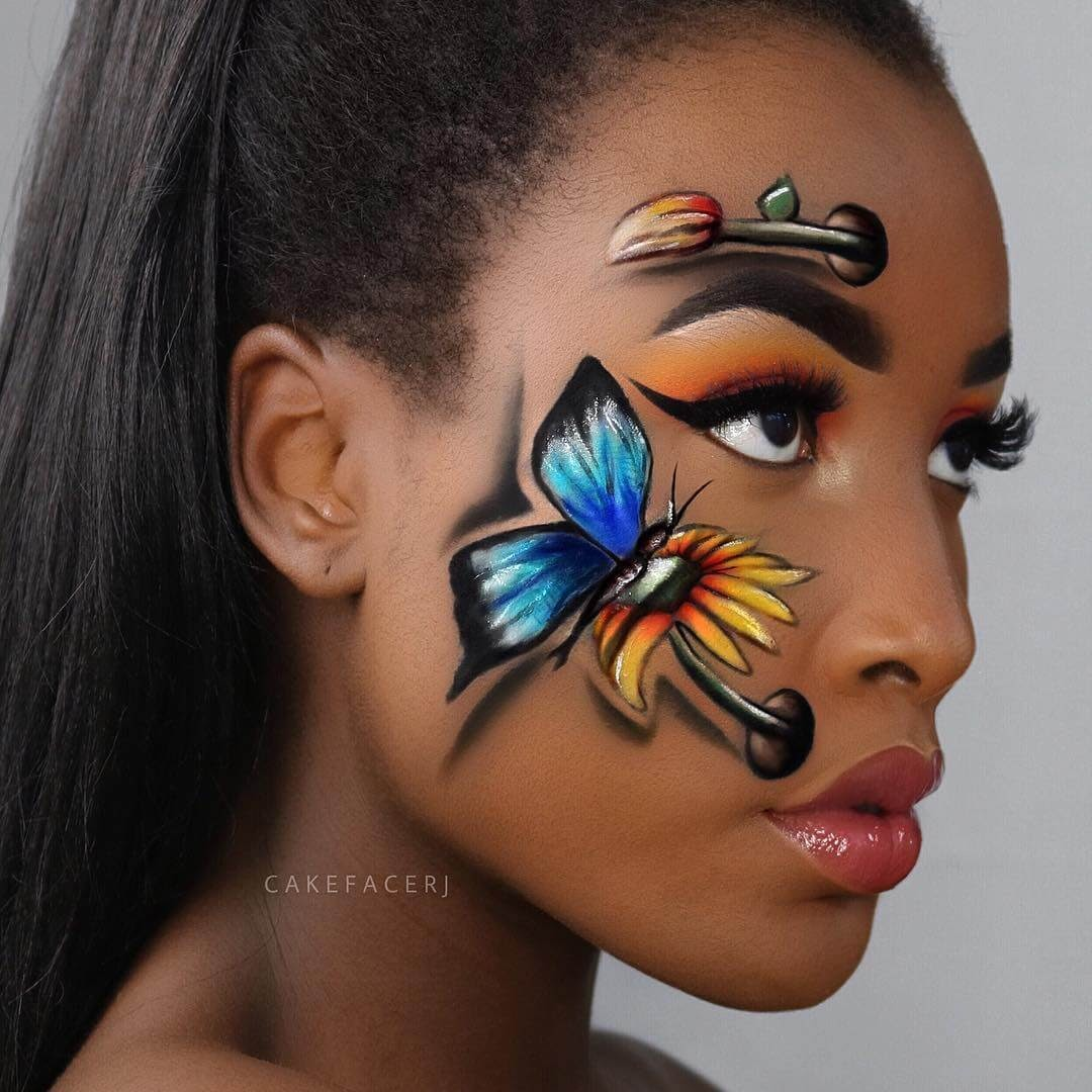 08-Two-Toned-Butterfly-RJ-Tulloch-3D-Makeup-Illusions-Body-Painting-www-designstack-co