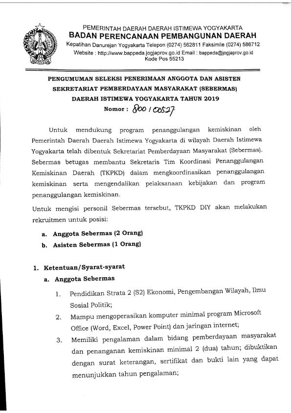 Lowongan Kerja Yogyakarta 2019 : lowongan, kerja, yogyakarta, Lowongan, Kerja, BAPEDDA, Yogyakarta