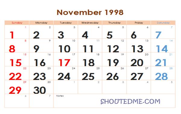 Kalender 1998 Masehi Bulan November