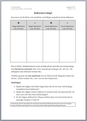 Stödstruktur för att diskutera lektioners längd