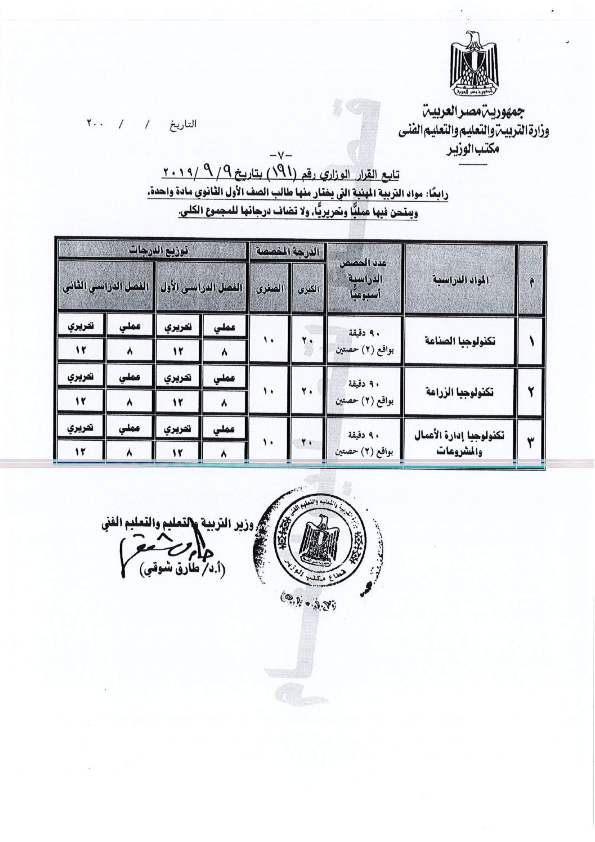 """تعرف على.. نظام التشعيب الجديد للثانوية العامة """"مستند"""" Ministerial_Decree_No._191_of_2019_007"""