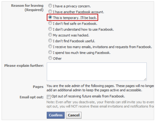 Temporarily Disable Facebook Account