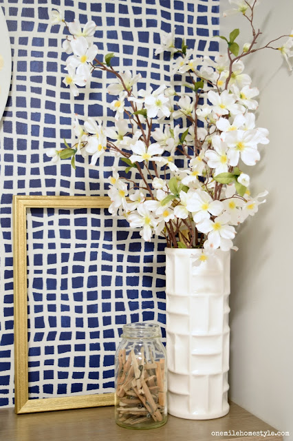 Navy and Grey Laundry Room Makeover gold and floral touches- One Mile Home Style