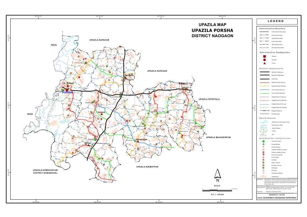 Porsha Upazila Map Naogaon District Bangladesh