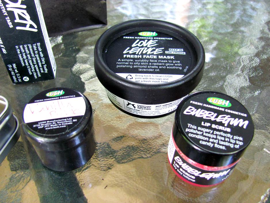 lush-cosmetics-haul, vanilla-puff-dusting-powder, love-lettuce-fresh-face-mask, bubblegum-lip-scrub