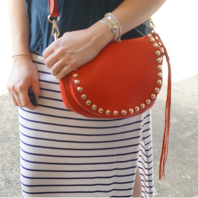 stripe maxi skirt, Rebecca Minkoff unlined saddle bag in cherry red | Away From The Blue