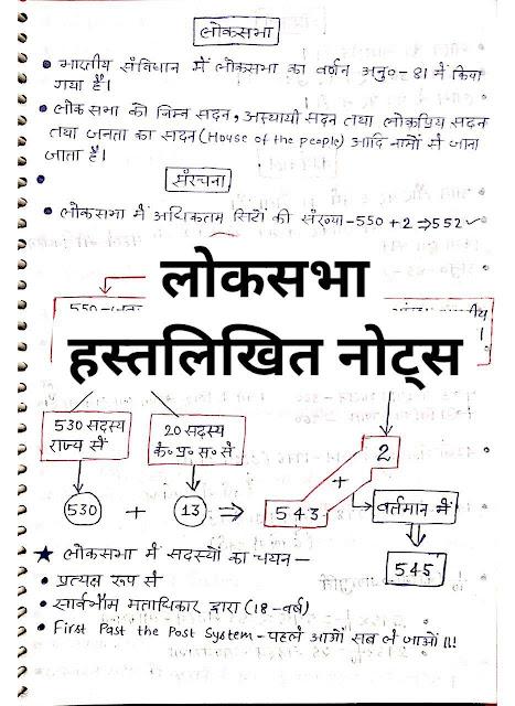 Lok Sabha Handwritten Notes : For All Competitive Exam Hindi PDF Book