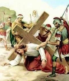 Dibujo de Jesús cayendo nuevamente al suelo