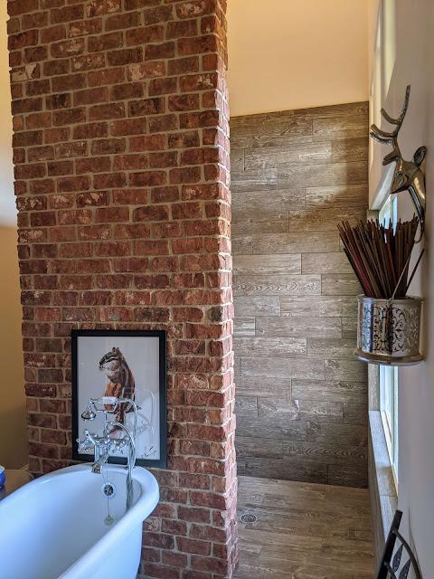 Bathroom with wood tile