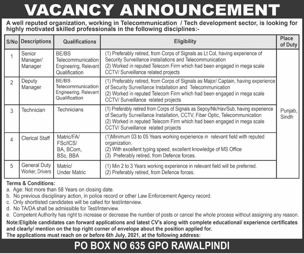 A Public Sector Organization Jobs P.O No 635 GPO Rawalpindi