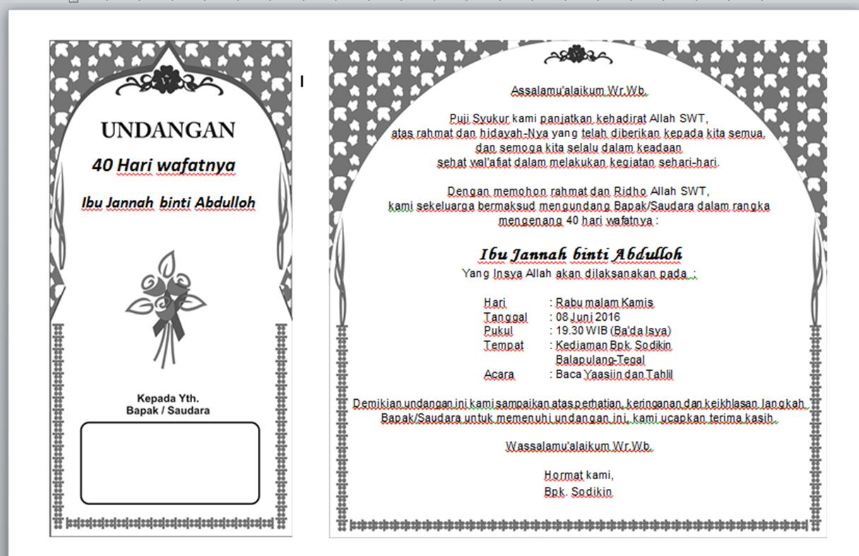 undangan tahlil word - wood scribd indo