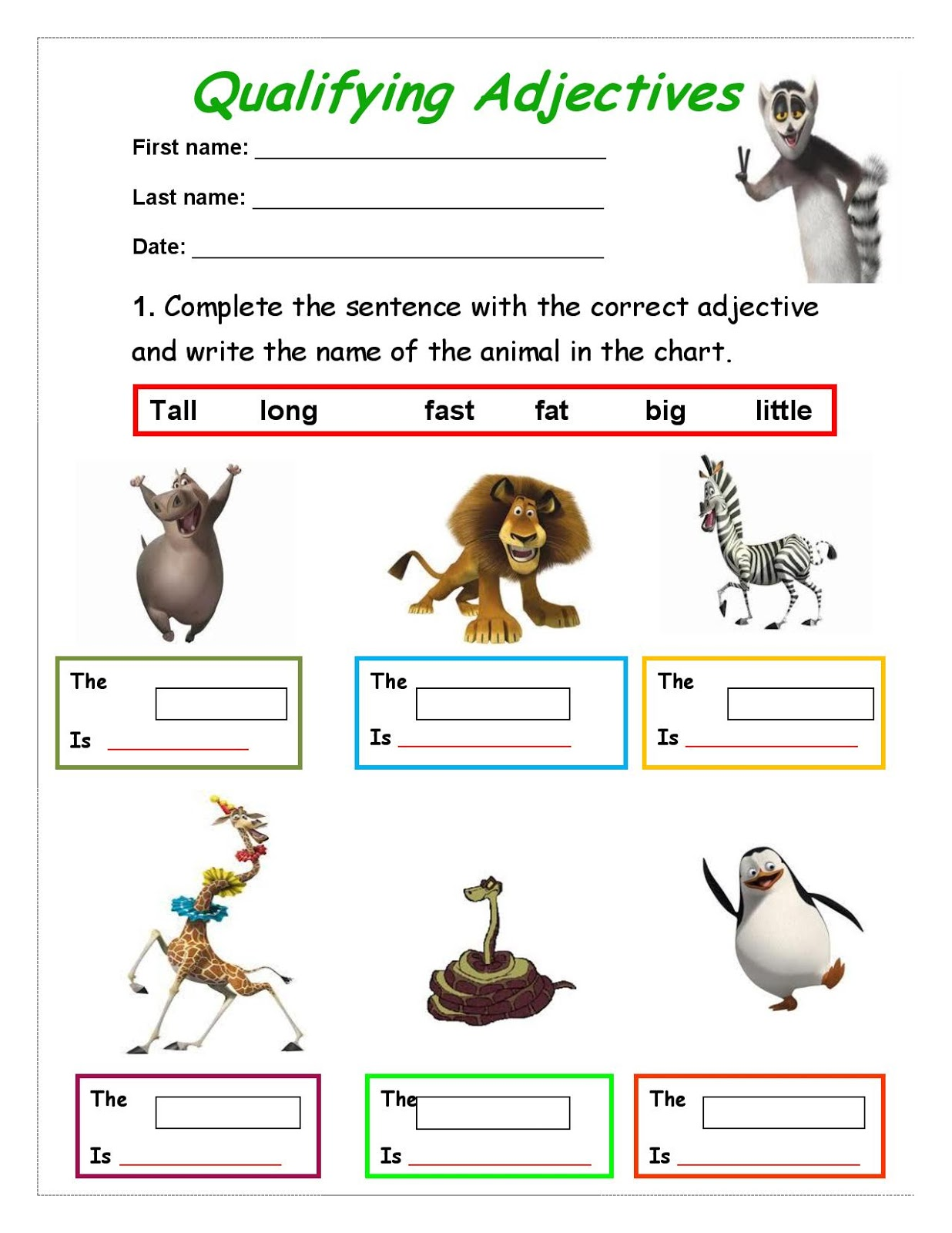 Walking In English Qualifying Adjectives Worksheet