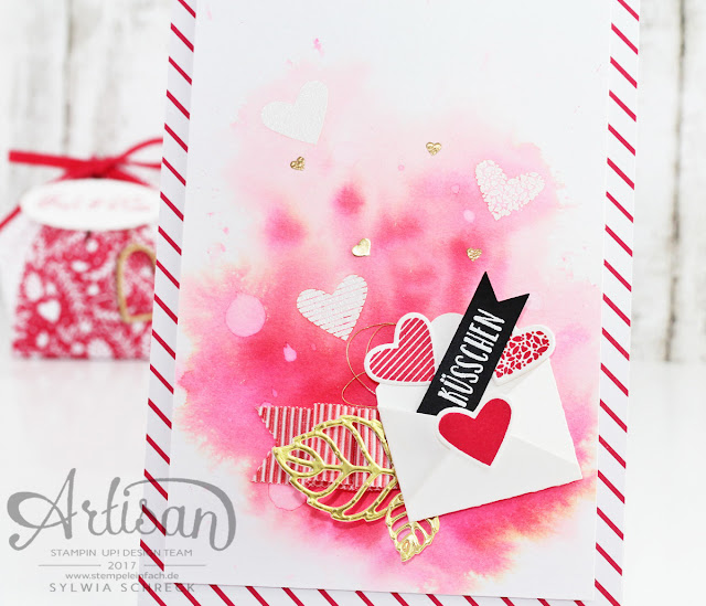 Karte mit Herzen und Küsschen von Stampin UP