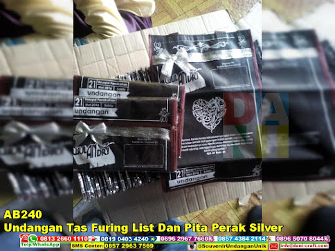 jual Undangan Tas Furing List Dan Pita Perak Silver