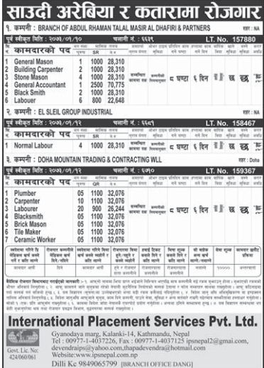 Jobs For Nepali In Saudi Arabia,  Salary -Rs.70,775/