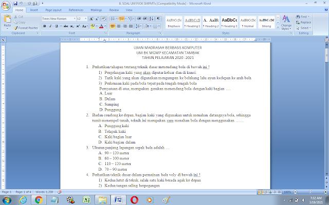 Contoh Soal Ujian Madrasah (UM) PJOK MTs